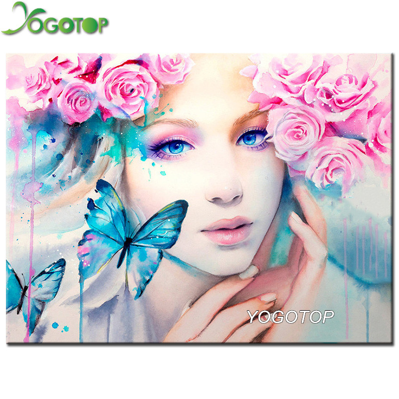 5D DIY Mosaic Diamond Painting Butterfly /& Beauty Cross Stitch Kits Decor