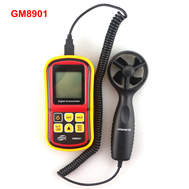 GM8901 Handheld Digital Anemometer 45m/s (100mph) LCD Air Velocity Wind Speed Tester Temperature Monitor Anemometro цена