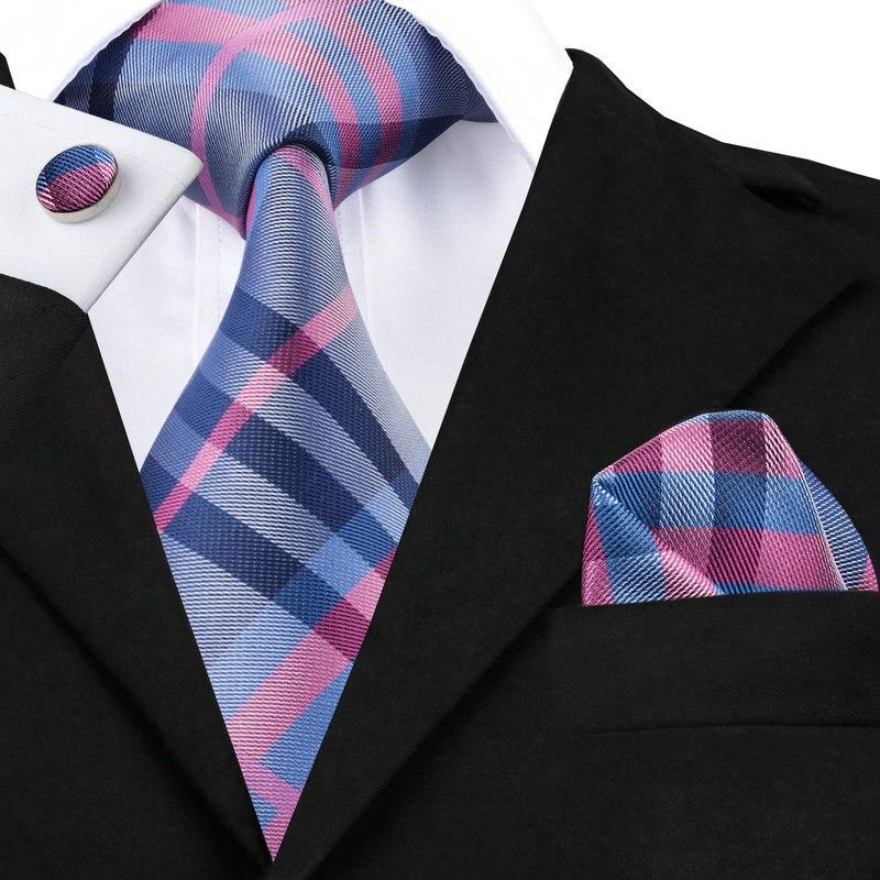 SN-467 Dunkelgrau Rosa Blau Kariert Krawatte Einstecktuch Manschettenknöpfe Sets herren 100% Seidenkrawatten für männer Formale Hochzeit Bräutigam
