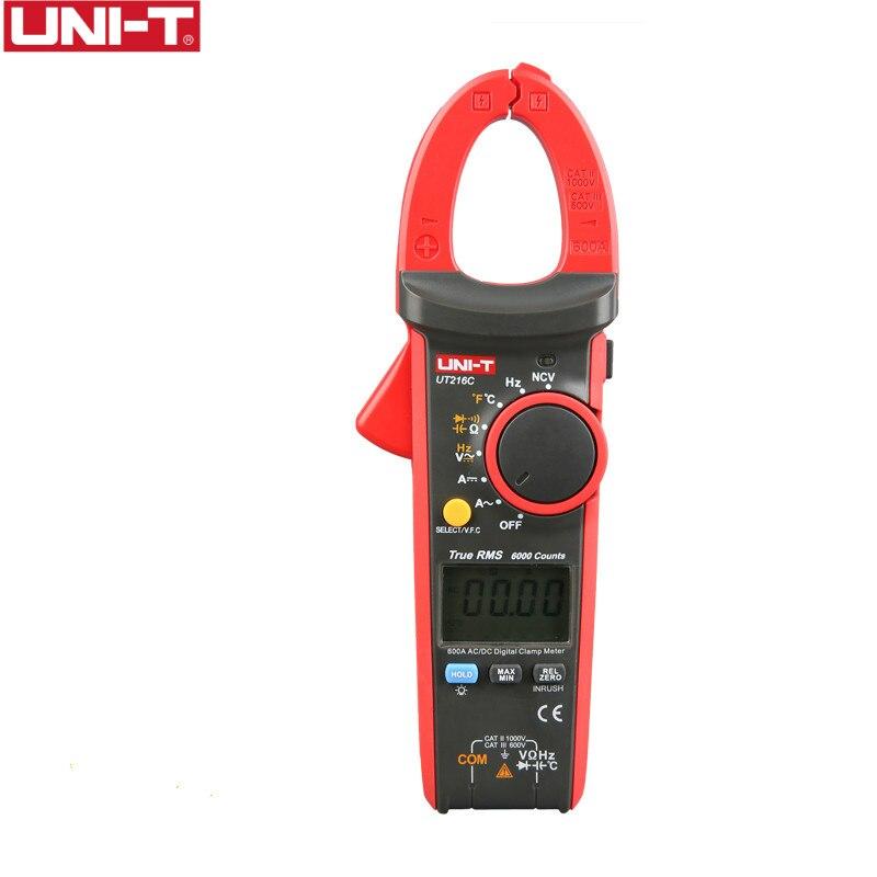 UNI-T UT216C 600A Medidores Digitais Da Braçadeira NCV V.F.C Diodo Teste de Temperatura Display LCD Luz de Trabalho AC DC Auto Multímetros Alcance