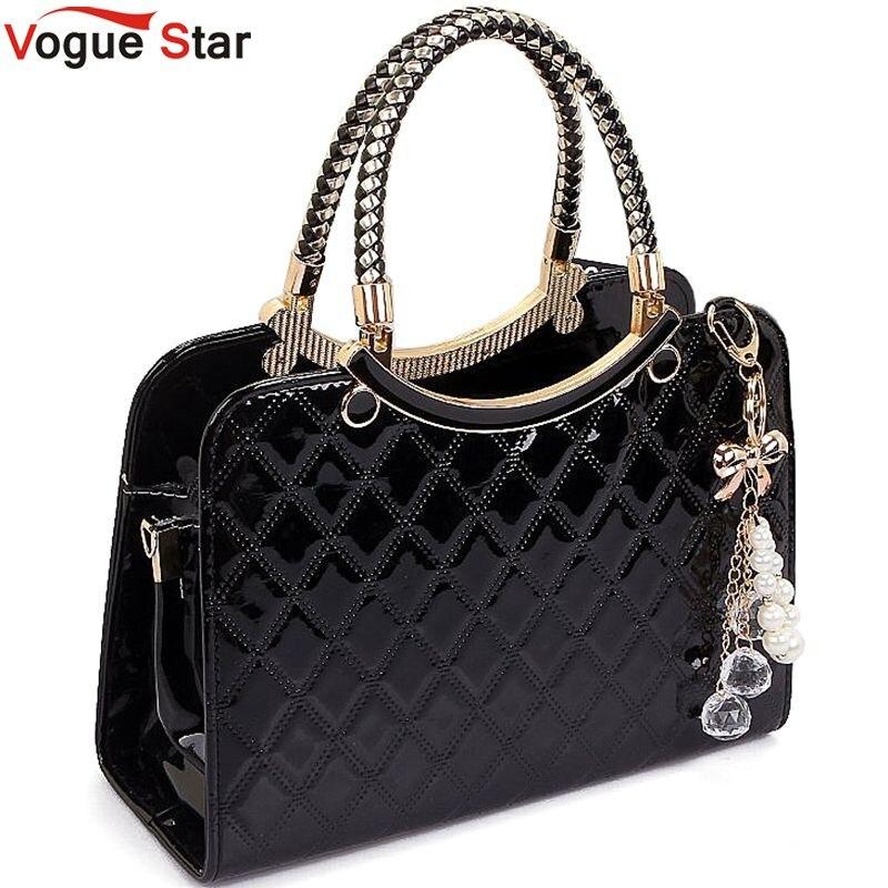 Vogue Star Brand bag cute 2017 New Fashion Designer  PU Leather Tote Shoulder Bag Handbag Ladies Messenger chain plaid  YK40-964