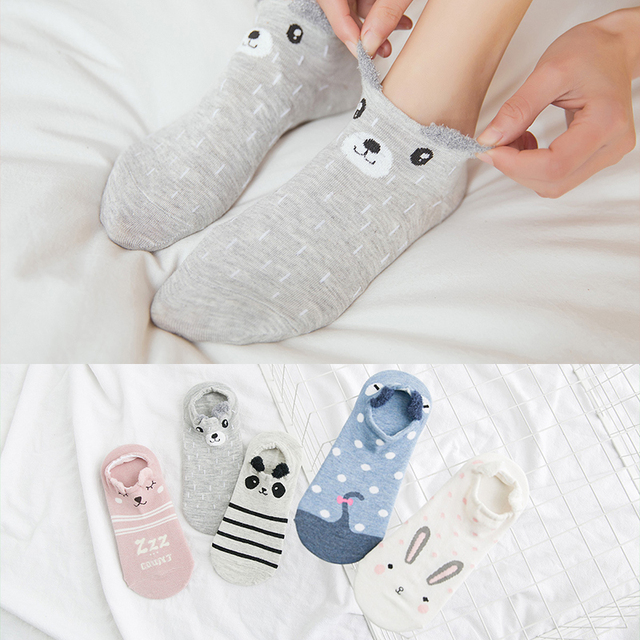 Details about  /Socks For Ladies Cotton Cartoon Animal 3D Ear Stealth Spring Summer Slipper Sock
