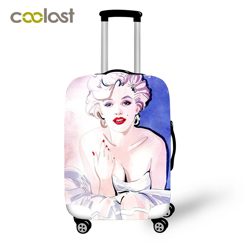 Marilyn Monroe Luggage Cover For Girls Cool Monroe Rose Gun Suitcase Protective Covers Elastic Case Cover Travel Accessories