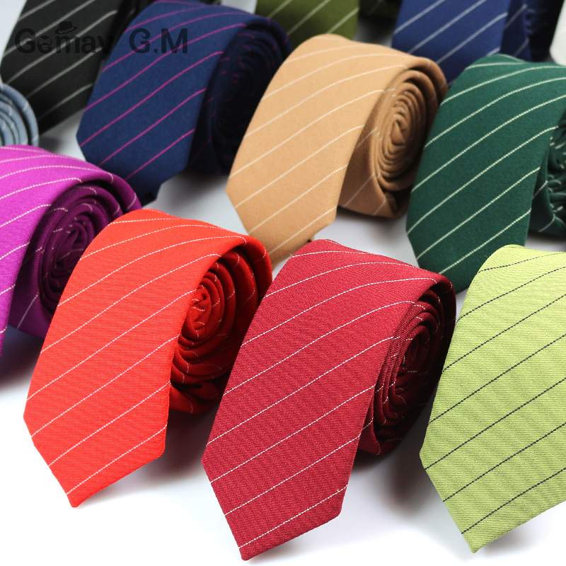 New mens tie classic striped tie candy color ultra narrow 6cm tie 15 color factory direct sales