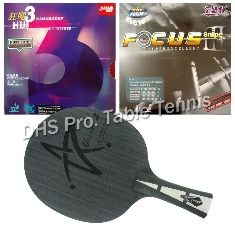 цена на Pro Table Tennis Combo Paddle Racket YINHE Galaxy Uranus 2 blade with RITC729 FOCUS III and DHS Hurricane 3 rubbers