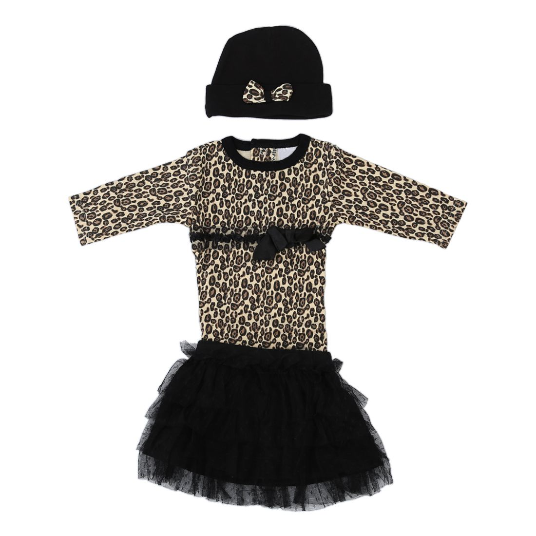 Baby girls 3pcs sets:long sleeved rompers + tutu skirt dress+hat Autumn girls leopard kids clothing sets-9M