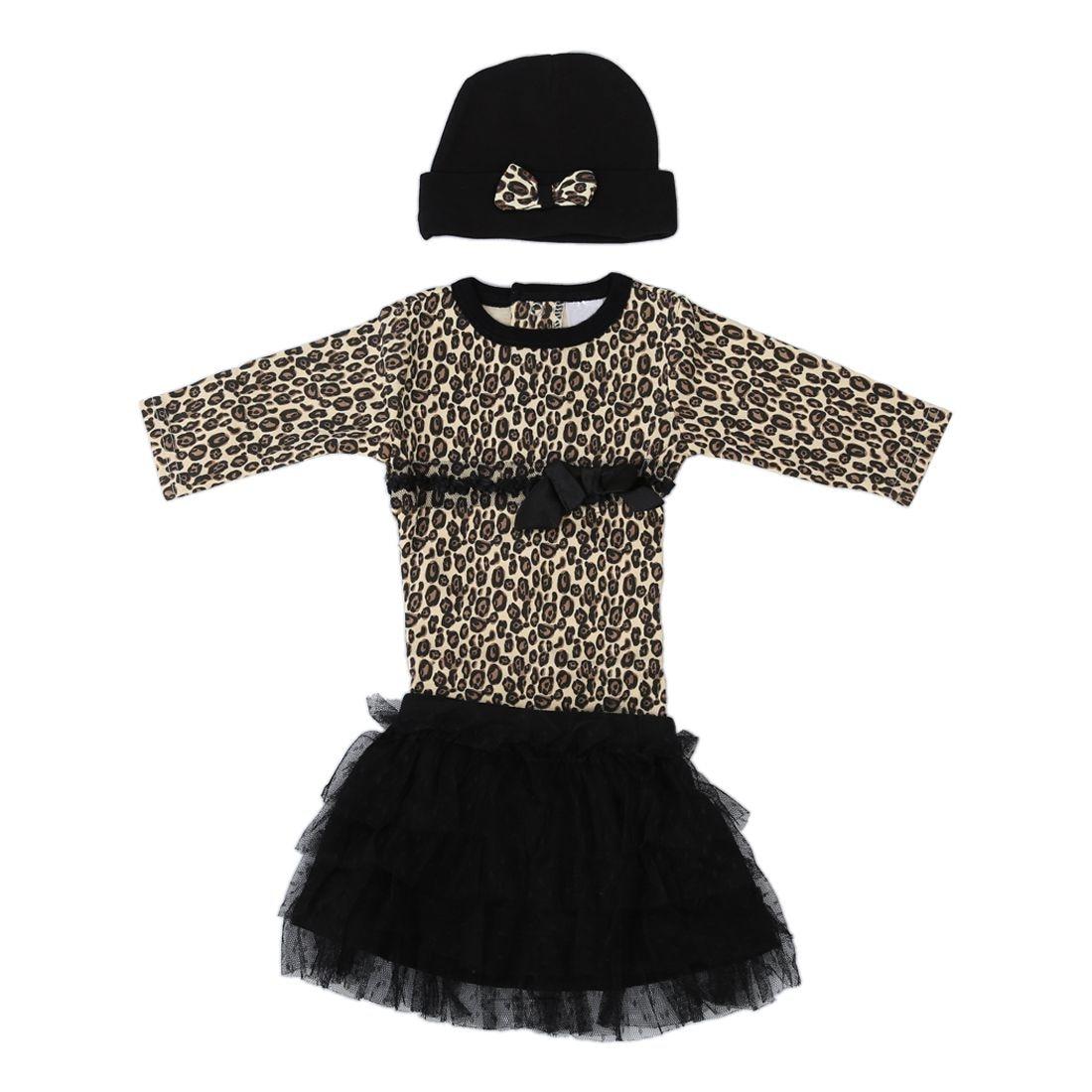 Baby girls 3pcs sets:long sleeved rompers + tutu skirt dress+hat Autumn girls leopard kids clothing sets-9M