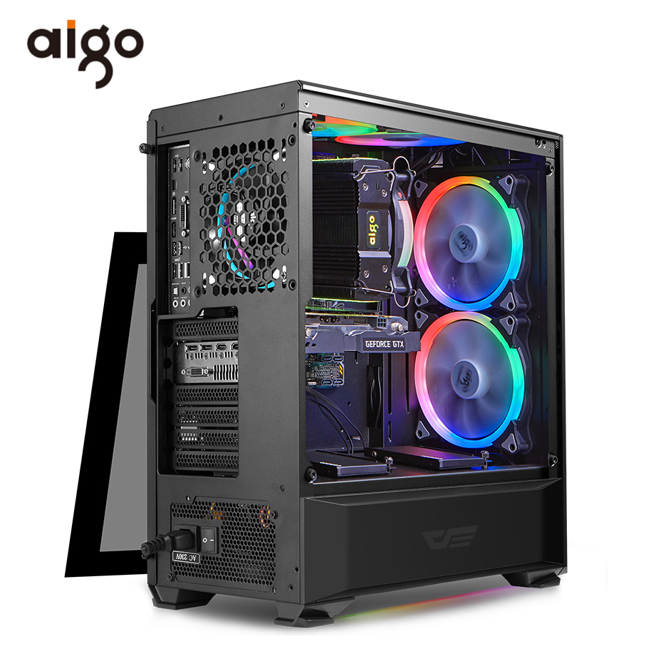 Aigo Desktop Computer Case ATX Pc Computer Case USB3.0 HD Audio Computer Cases 360mm Pc Chassis Gabinete ComputadorComputer Cases & Towers   -