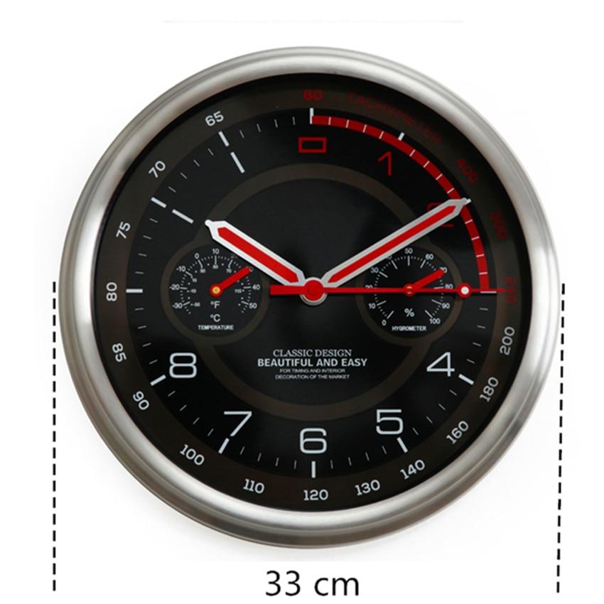 Horloge murale moderne en métal thermomètre hygromètre Auto Pow patrouille Guess montre montres mécanisme Relogio Parede cadeau d'anniversaire 50ZB35 - 3