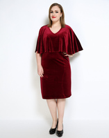 Cute Ann Women's Sexy V-neck Plus Size Velvet Dress Red Black Cocktail Party Semi Formal Autumn Winter Dress 6xl 7xl