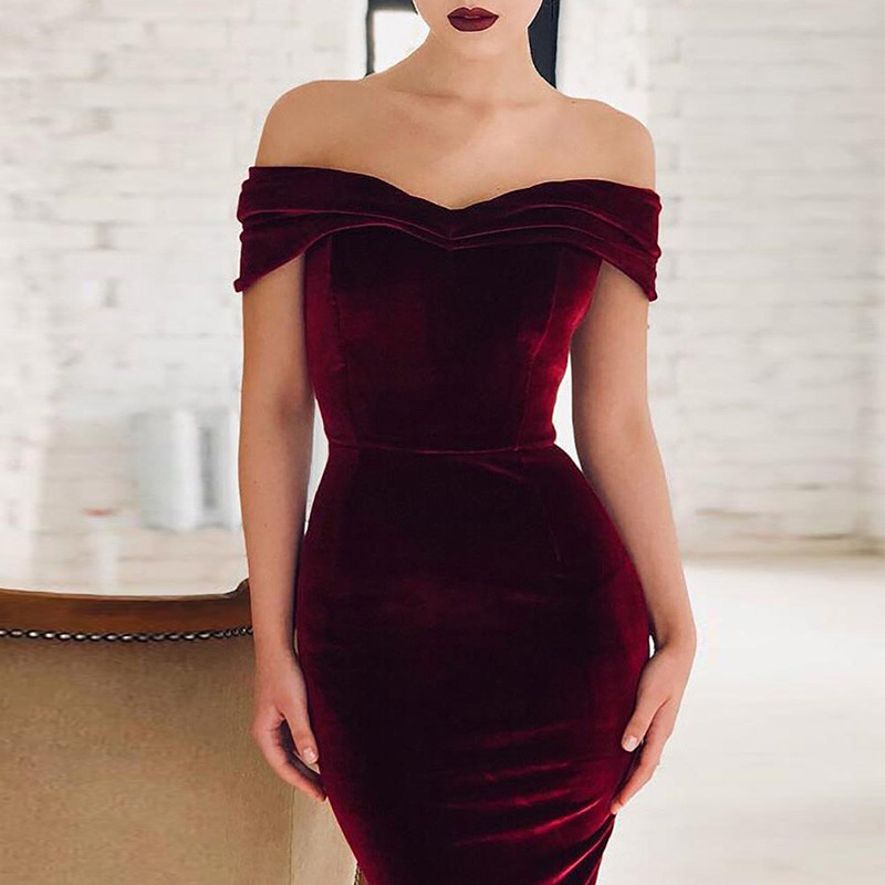 2019 Autumn Velvet Dresses Women Regular Natural Fashion Solid Sexy Slim Sheath Off The Shoulder V-neck Women Dress Vestidos