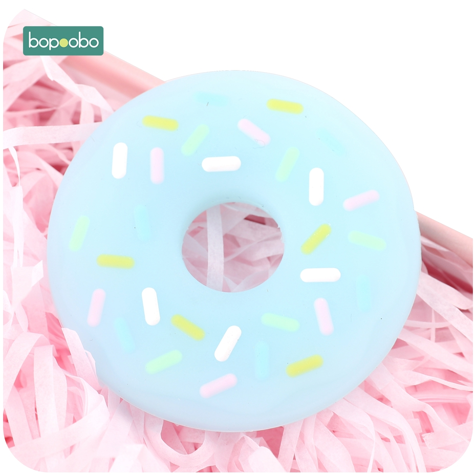 Bopoobo 1pc Silicone Teether Food Grade Donut Baby Teething Pendant DIY Pacifier Clipt Accessories Baby Nursing Gitfs