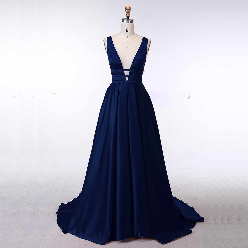 Navy Blue Sexy Evening Dress Elegant Satin Gown
