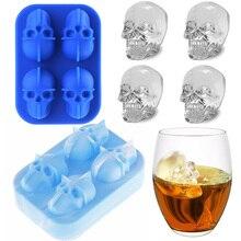 3D череп силиконовая форма для льда аппарат-изготовитель кубиков льда лоток Пудинг Форма торт конфеты форма для льда вечернее крутое вино Лед Крем Кухня DIY аксессуар