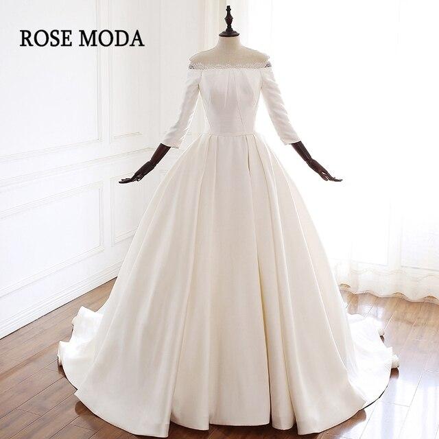 89b9d0681e US $289.0  Rose Moda Vintage Wedding Dress 2019 Off Shoulder Princess  Wedding Dresses Long Sleeves Real Photos-in Wedding Dresses from Weddings &  ...