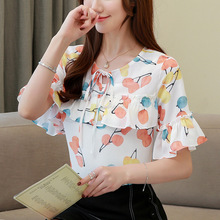 New Style Fashion Women Female Flare Sleeve Sweet Temperament Party Chiffon Shirts Blouses