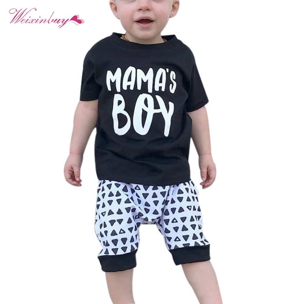 2PCS Kids Baby Boys Toddler T-shirt Letter Black Tops and pants Set Outfits Clothes 2018 ...