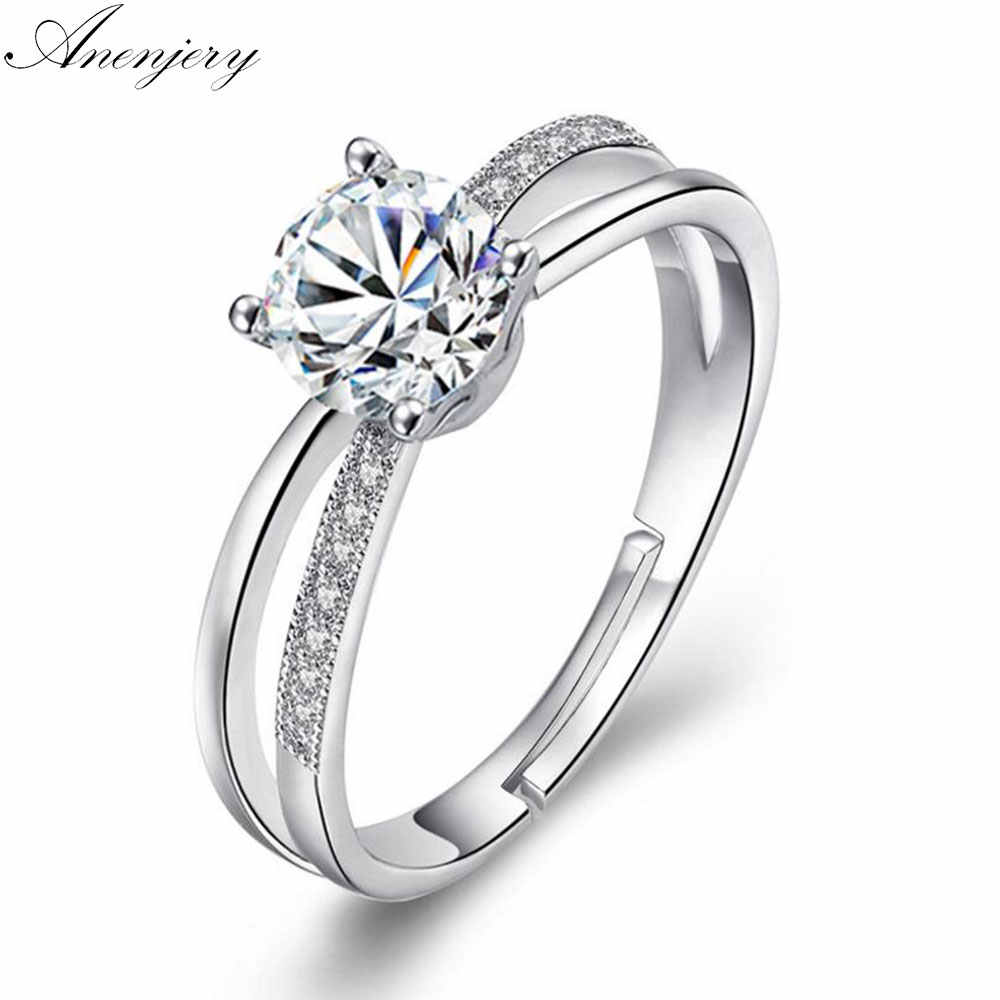 Anenjery 925 Sterling Silver Wedding Ring For Women Cross Zircon Luxury Opening Ring anel Valentine's Day Present S-R131
