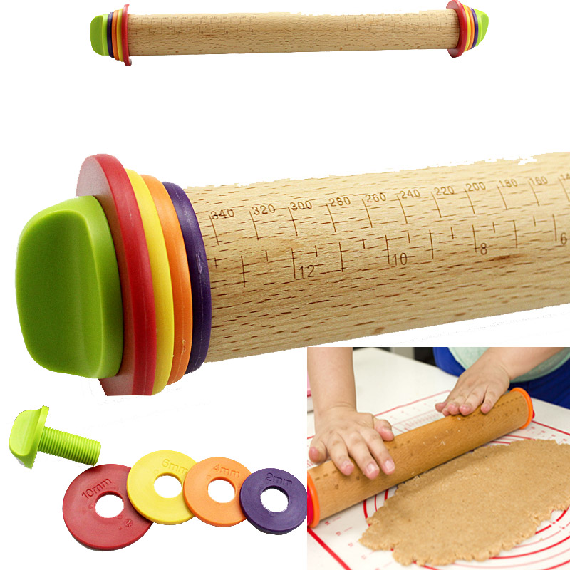 43*3.5cm Baking Fondant Cake Pastry Roller Large safety non stick adjustable solid wood Rainbow Rolling Pin
