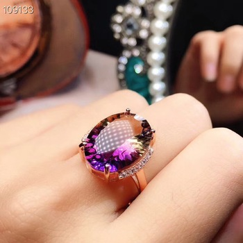 Photographed in nature Natural ametrine ring, rare gems in two colors, 925 silver ladies ring.