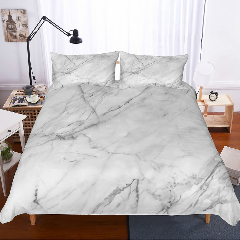 MUSOLEI 3D Bedding Set Nature Granite Pattern Marble texture Artistic Image Queen Duvet Cover Set Modern Style for Men and Women
