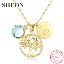 SHEON Authentic 925 Sterling Silver Tree of Life Pendant Necklaces Women Gold Necklace Jewelry New Arrival