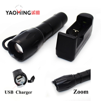 CREE Q5 Led Flashlight 2000LM Telescopic Police Baton Led Flashlights Mace Lamp For Self Defense Torch