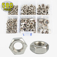 580pcs Hex Nuts M4 M12 Stainless Steel Hardware Fasteners Fittings