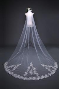 Image 4 - New Arrival 3 Meter Cheap Wedding Veil Long Lace Appliques Veu de noiva longo com pente Sexy wedding veil with comb 2020
