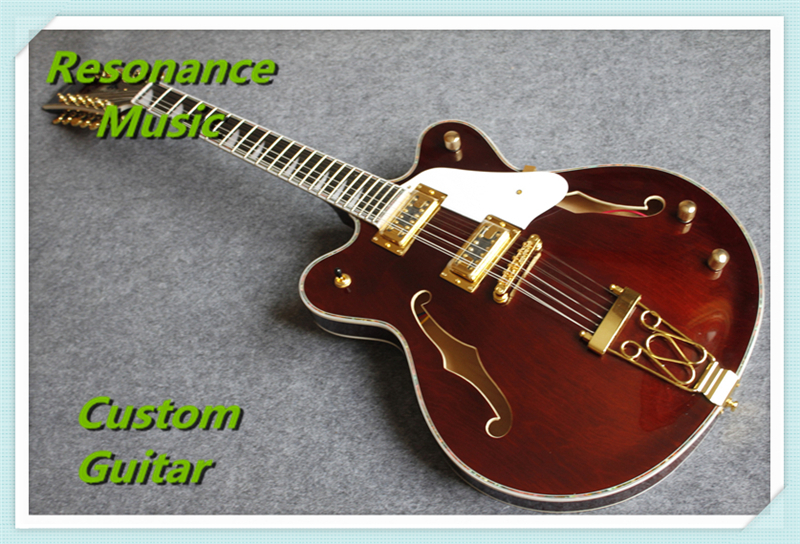 New Arrival 12 String Gret. Electric Guitar Hollow Maple Body & Custom Logo Available high quality custom shop lp jazz hollow body electric guitar vibrato system rosewood fingerboard mahogany body guitar