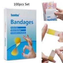 100 adet tıbbi anti bakteri iyileştirici yara yapıştırıcı macun bant yardım bandajı etiket için ilk yardım kiti su geçirmez