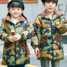 Kids Children's Clothing Outerwear Down Parkas Girl Boys Clothing Girl Boys Winter Coats Camouflage Thickened Long Snowsuit
