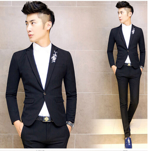 One Button Fashion Business Suits Tailored Vent Back Men Blazers