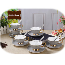 1 set Ontinental European Tea Set Ceramic Coffee Cup Suit British Style High-Grade Bone China Coffee Cup And Saucer 6ZOP01