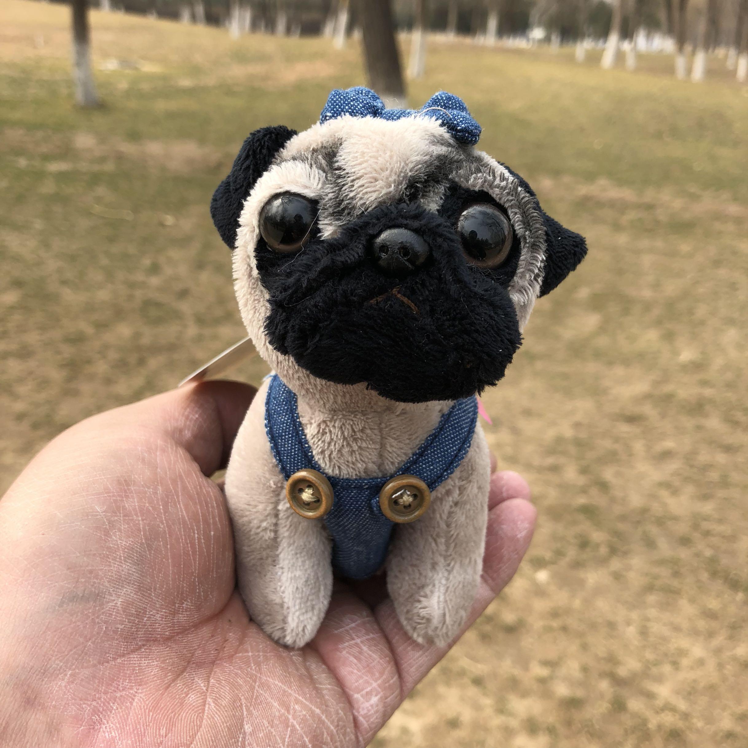 купить Cute Shar Pei Pug Jeans Denim suspenders plush toy christmas Mini dog keychain charms онлайн