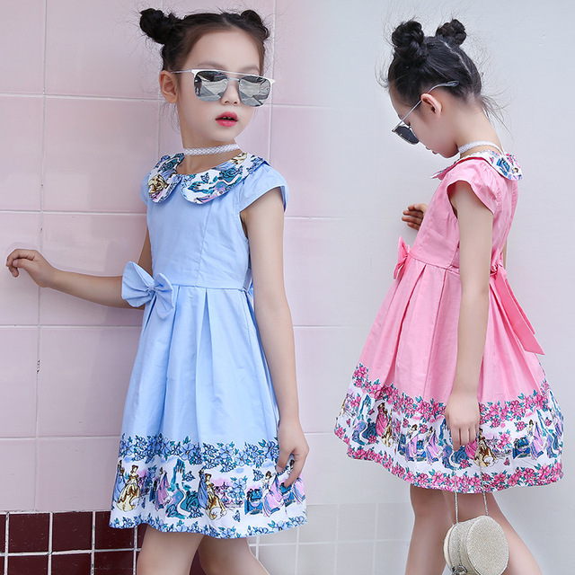 d9dfeb15c7a57 US $13.6  2018 New Summer Clothes Cartoon Peter Pan Collar Cute Printing  Baby Girl Dress Children Cotton Short sleeved Dresses with Bow-in Dresses  ...