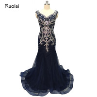 Real Photo Luxury Mermaid Evening Dresses Long Dark Navy Prom Dresses 2017 Heavy Beaded Crystal Party Gown Robe de Soiree MD12