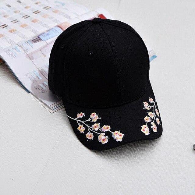 Cap Women Black Pink Baseball Cap Women Black Flowers White Caps Embroidery af0e2bc60ee