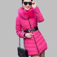 Winter Warm Cotton Down jacket New Style Slim Women Jacket Long sleeve Hooded Fur collar Jacket Large size Office Coat G2679