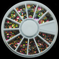 W126 300pcs/Set Black Color Half Round Nail Art Mix Size Rhinestone DIY Nail Art Decor Round Wheels