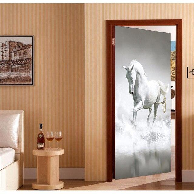 Porte Papier Peint Blanc Cheval 3d Diy Papier Peint Mural Fond