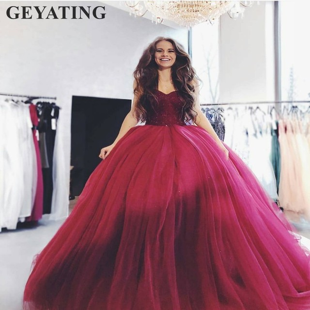 07b1a30444c Black Tulle Ball Gown Sweet 16 Dresses Puffy Wine Red Quinceanera Dress  2019 Burgundy Vestidos de 15 anos Beads Crystal Princess