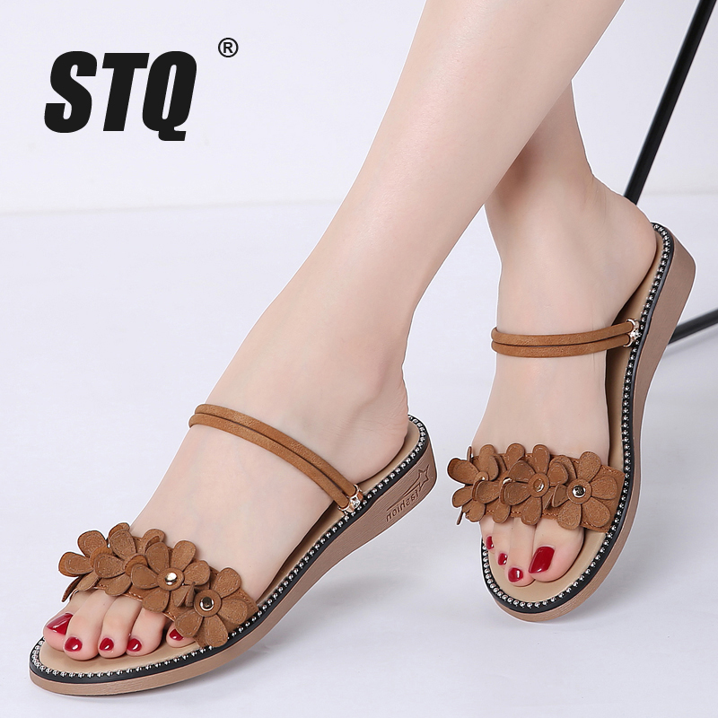 STQ Flat Sandals Slippers Rubber Low-Heel Black Women Ladies 3911 Slides