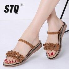 Stq 2020 verão sandálias femininas preto plana sandálias de borracha plana sandalias chinelos senhoras plana de salto baixo sandálias 3911