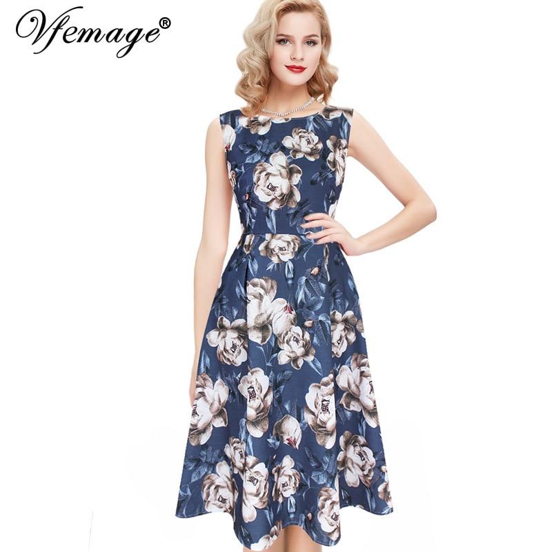 Vfemage Womens Elegant Vintage Polka Dot Floral Flower ...