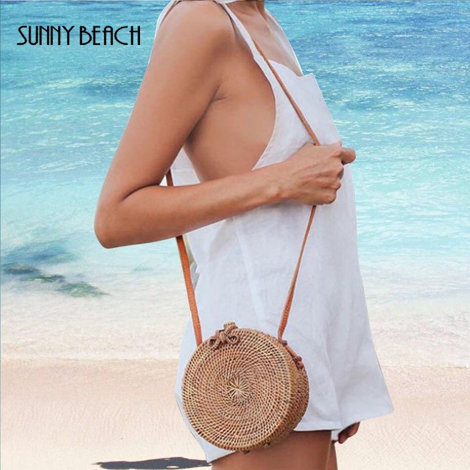 SUNNY BEACH  Fashion Round Straw Bags Women  Rattan Bag Handmade Woven Beach Crossbody Bag Bohemia Handbag Bali Messenger Сумка