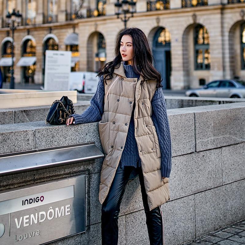 Veste De Femmes Sh220 Khaki Gilet Xylxjq Hiver Et À Collier Manteau Lâche Coton Solide Long Mode Double Épais Amovible Permanent Boutonnage CICUqnwAt