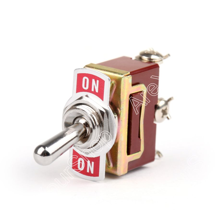 Areyourshop Toggle Switch 2 Terminal 3Pin (ON)-ON 15A 250VAC / 20A 125VAC Toggle Switch Reset SPDT