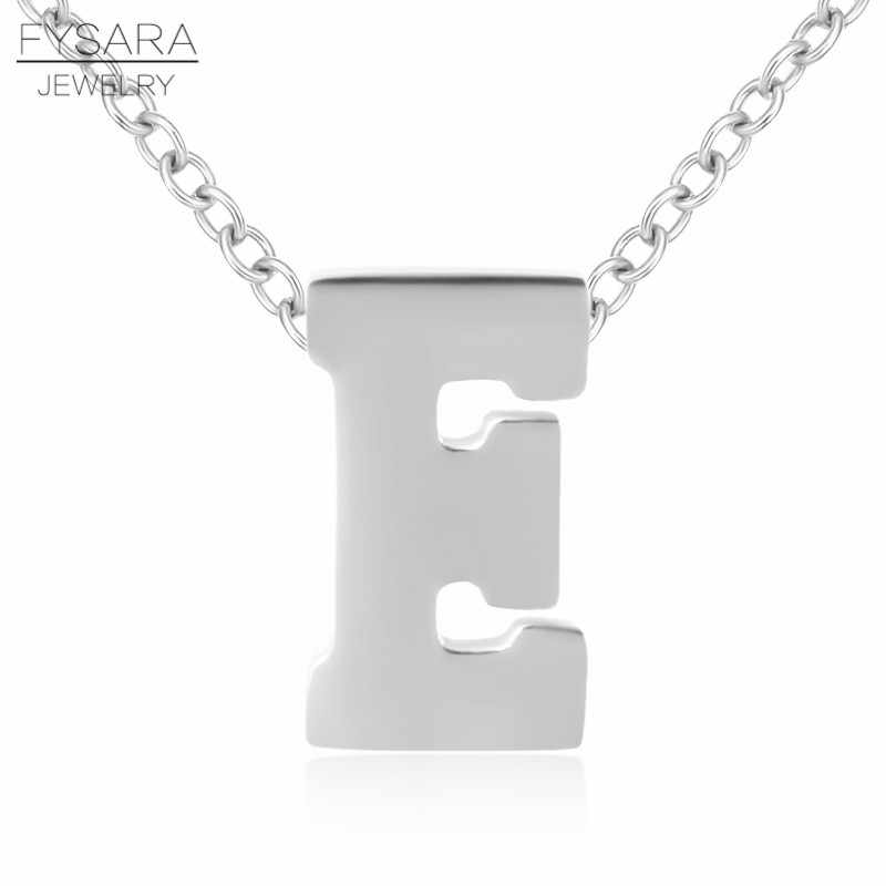 FYSARA Tiny Initial 26 Alphabet Pendant Short Necklace Female Love Letter Short Necklaces Silver Color Stainless Steel Jewelry
