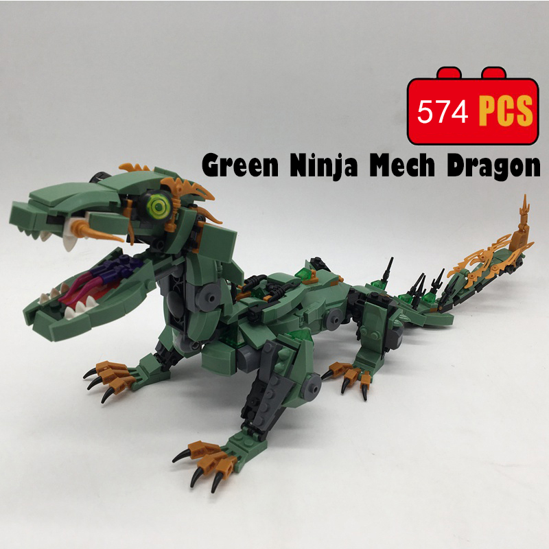 574pcs Ninja Movie Green Mech Dragon Building kits Blocks Bricks Toys for children Gift Compatible with legoINGly NinjagoINGly lepin 663pcs ninja killow vs samurai x mech oni chopper robots 06077 building blocks assemble toys bricks compatible with 70642